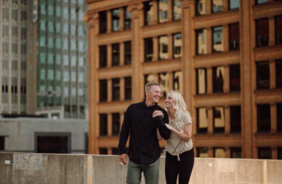 Minneapolis rooftop engagement photos urban adventure