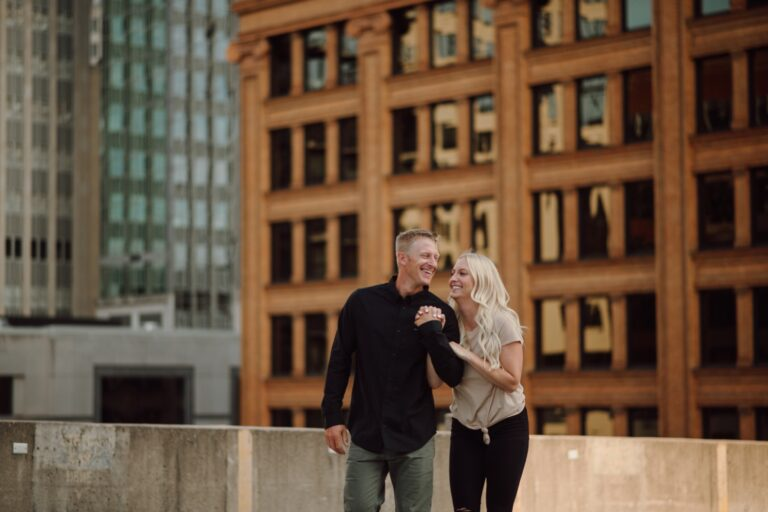 Minneapolis rooftop engagement photos urban adventure