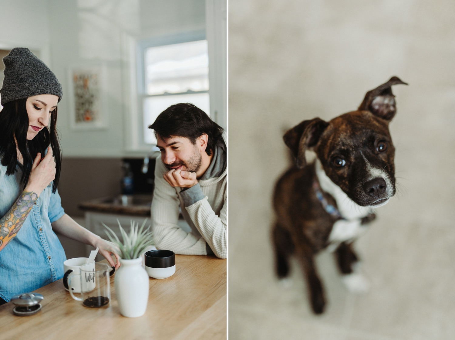 in home portrait session drinking tea with dogs