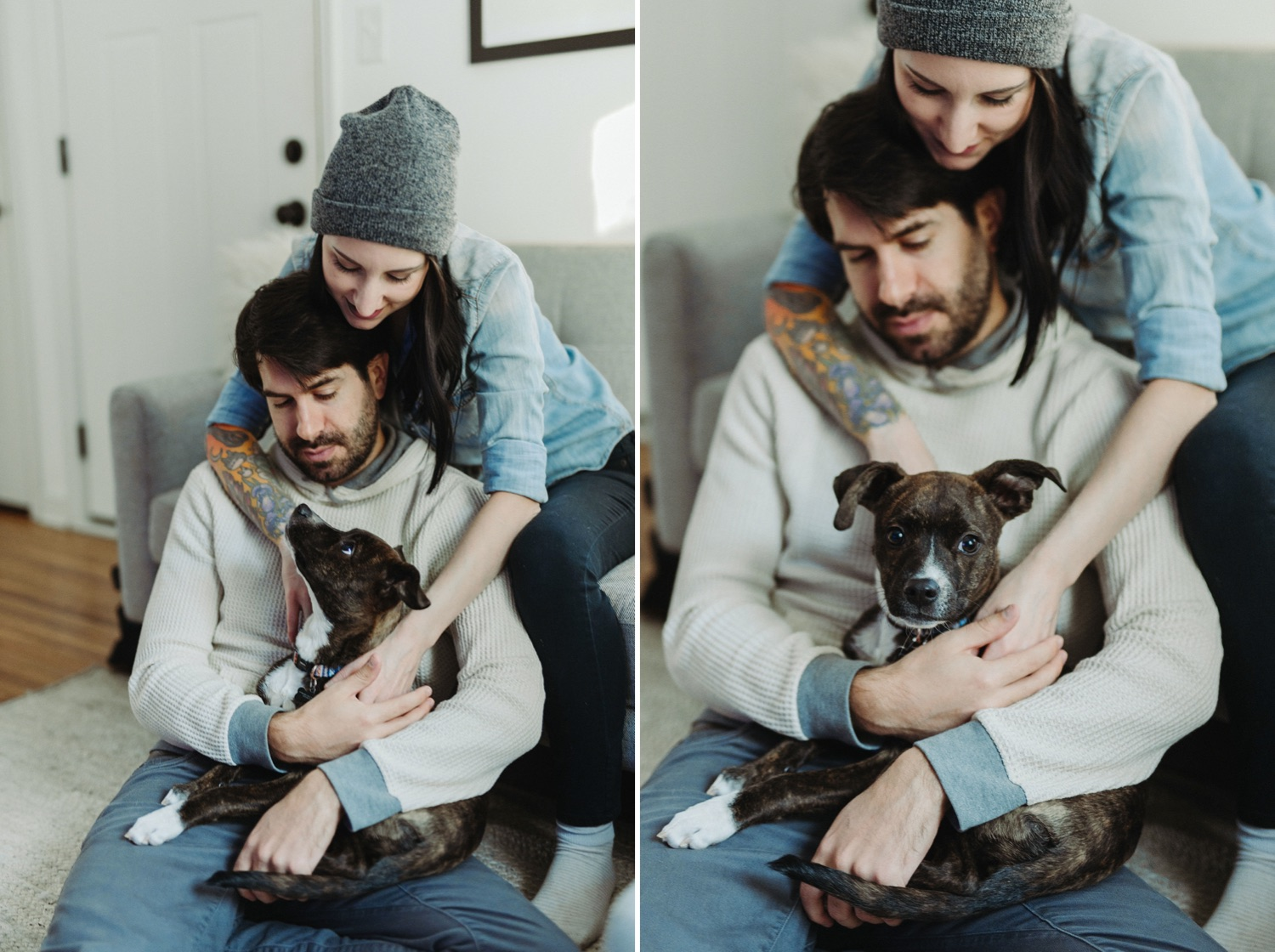 couple cuddling on the couch in home session with dog