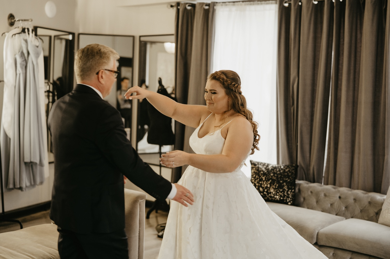 bride first look with dad lumber exchange wedding day
