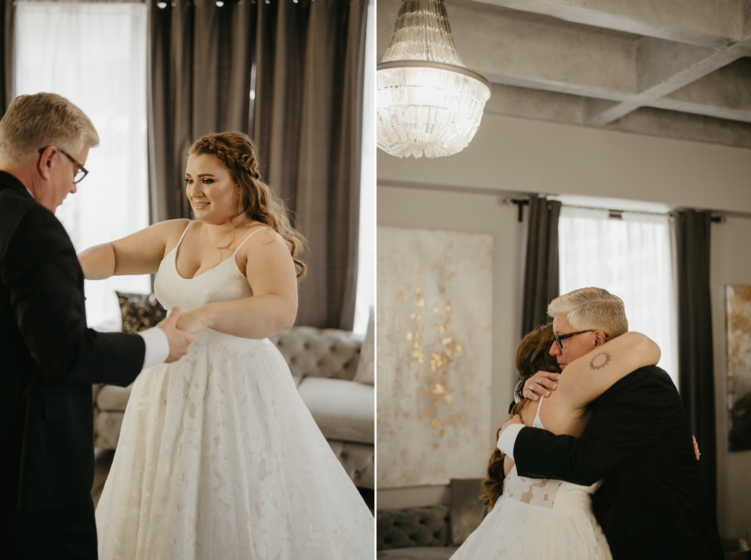 bride first look with dad lumber exchange minneapolis