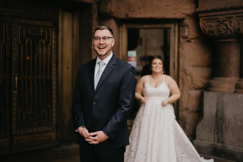 bride and groom first look outdoors lumber exchange minneapolis
