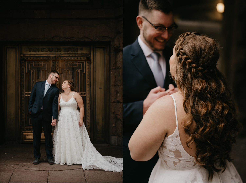 bride and groom wedding portraits in a doorway outdoors lumber exchange minneapolis