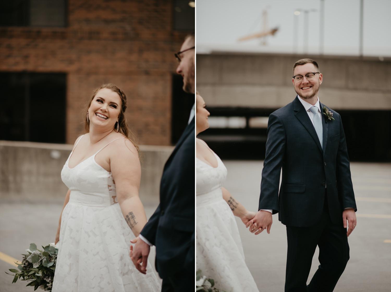 bride and groom walking together parking garage rooftop lumber exchange mpls