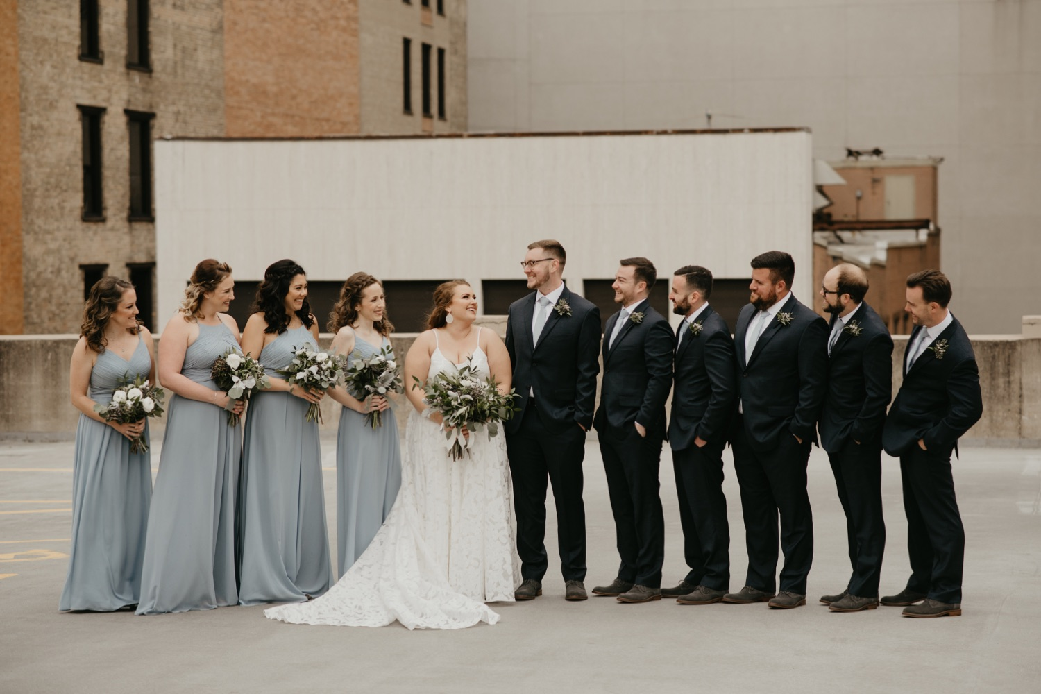 dusty blue and navy wedding party colors lumber exchange minneapolis
