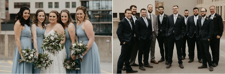 bridesmaids and groomsmen on a rooftop lumber exchange