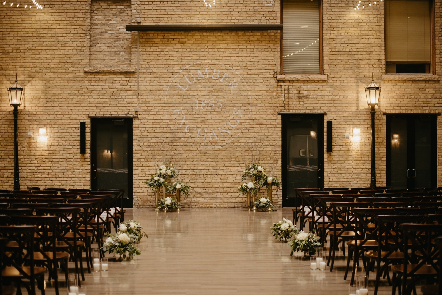 green and white ceremony floral decor lumber exchange minneapolis