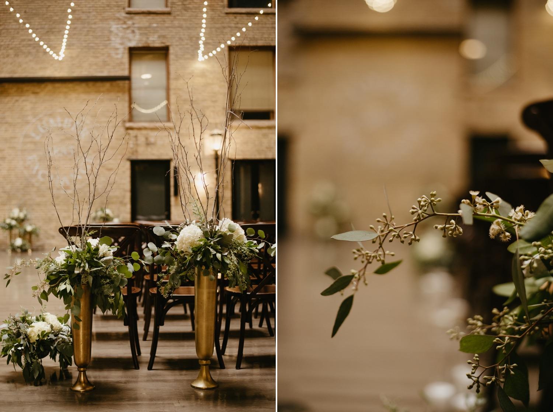 white and green wedding ceremony decor lumber exchange minneapolis