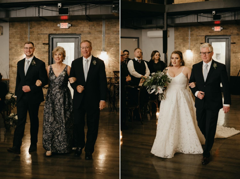 bride and groom walking down the aisle lumber exchange minneapolis