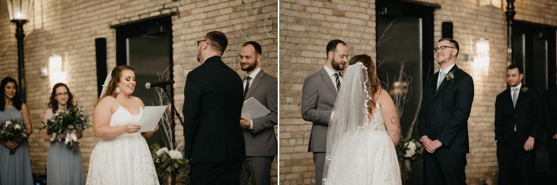 bride and groom exchange vows lumber exchange minneapolis