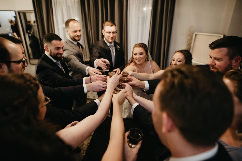 group shots lumber exchange minneapolis wedding