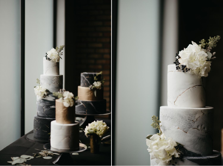 ink sweets black and white marble wedding cake lumber exchange minneapolis