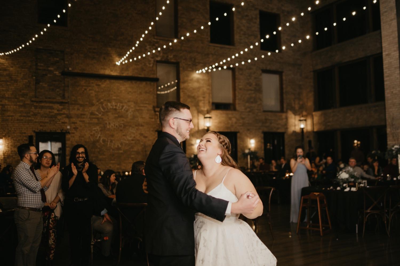 bride and groom first dance lumber exchange minneapolis wedding