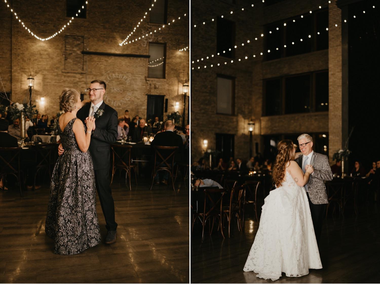 bride and groom first parent dance lumber exchange minneapolis