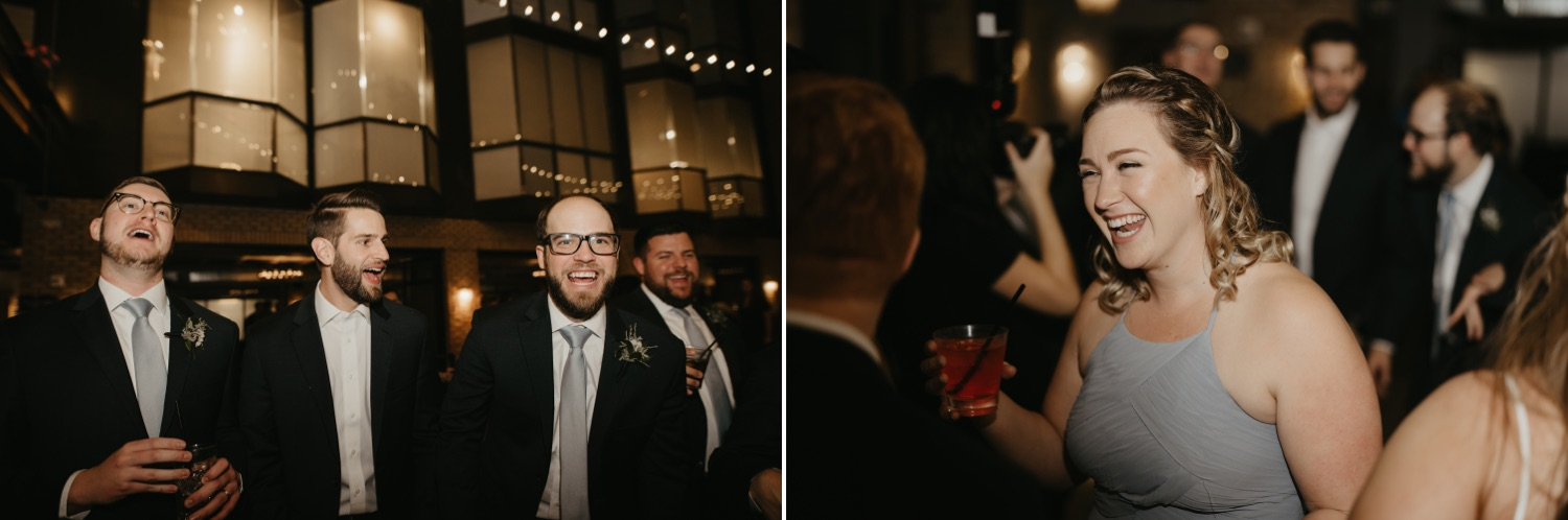 guests laughing at a wedding lumber exchange minneapolis