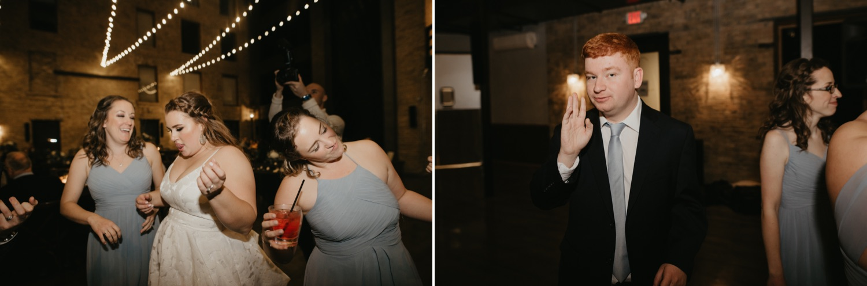 Bride and guests dancing at a wedding