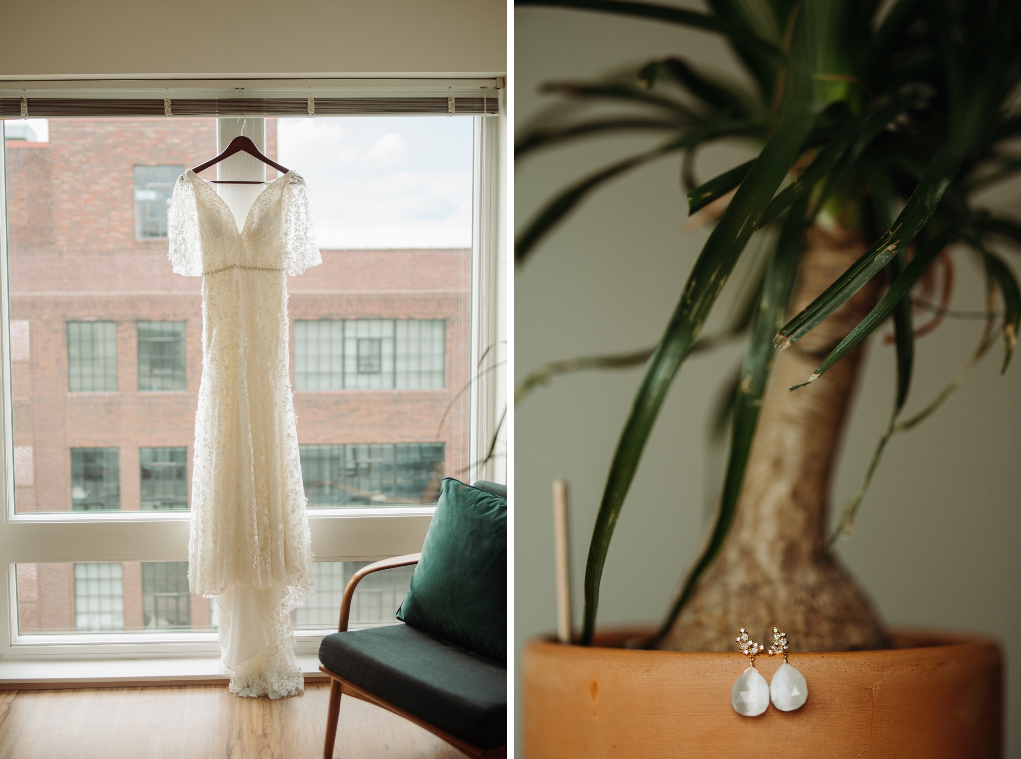 Wedding dress hanging on window, earrings sitting on a potted plant