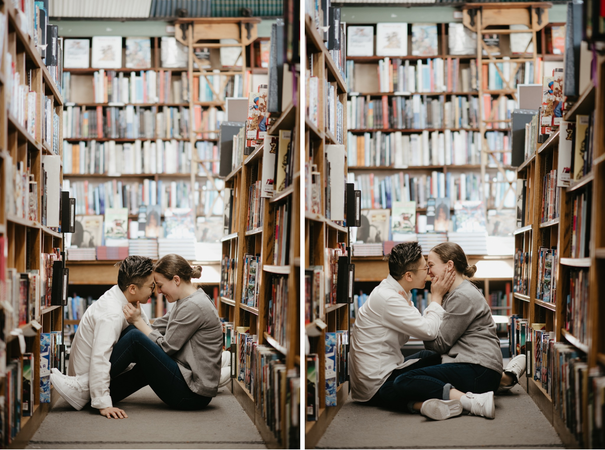 two side by side photos on bride and bride sitting on the floor in a bookstore kissing