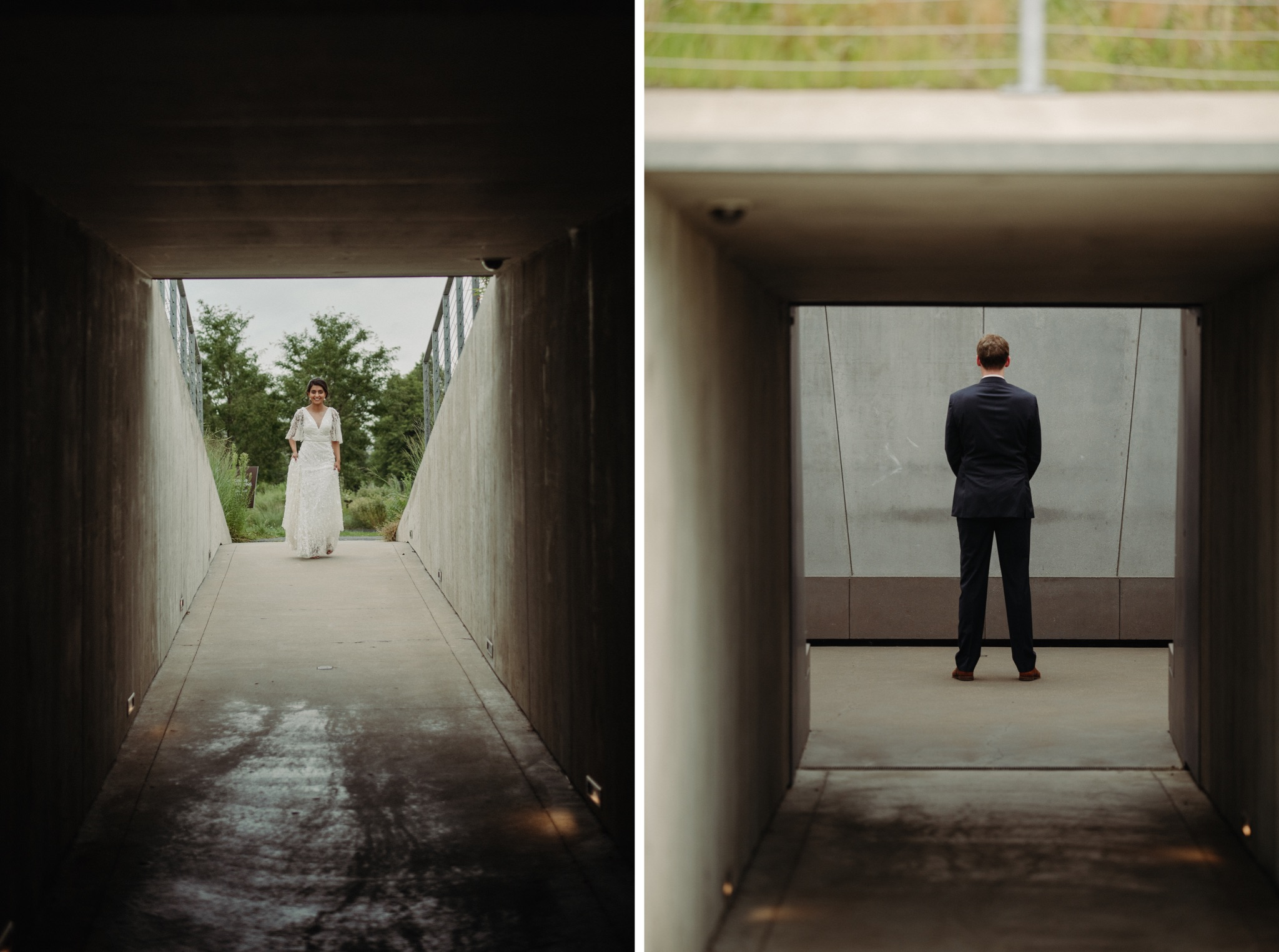 bride and groom standing in a tunnel walker art center wedding