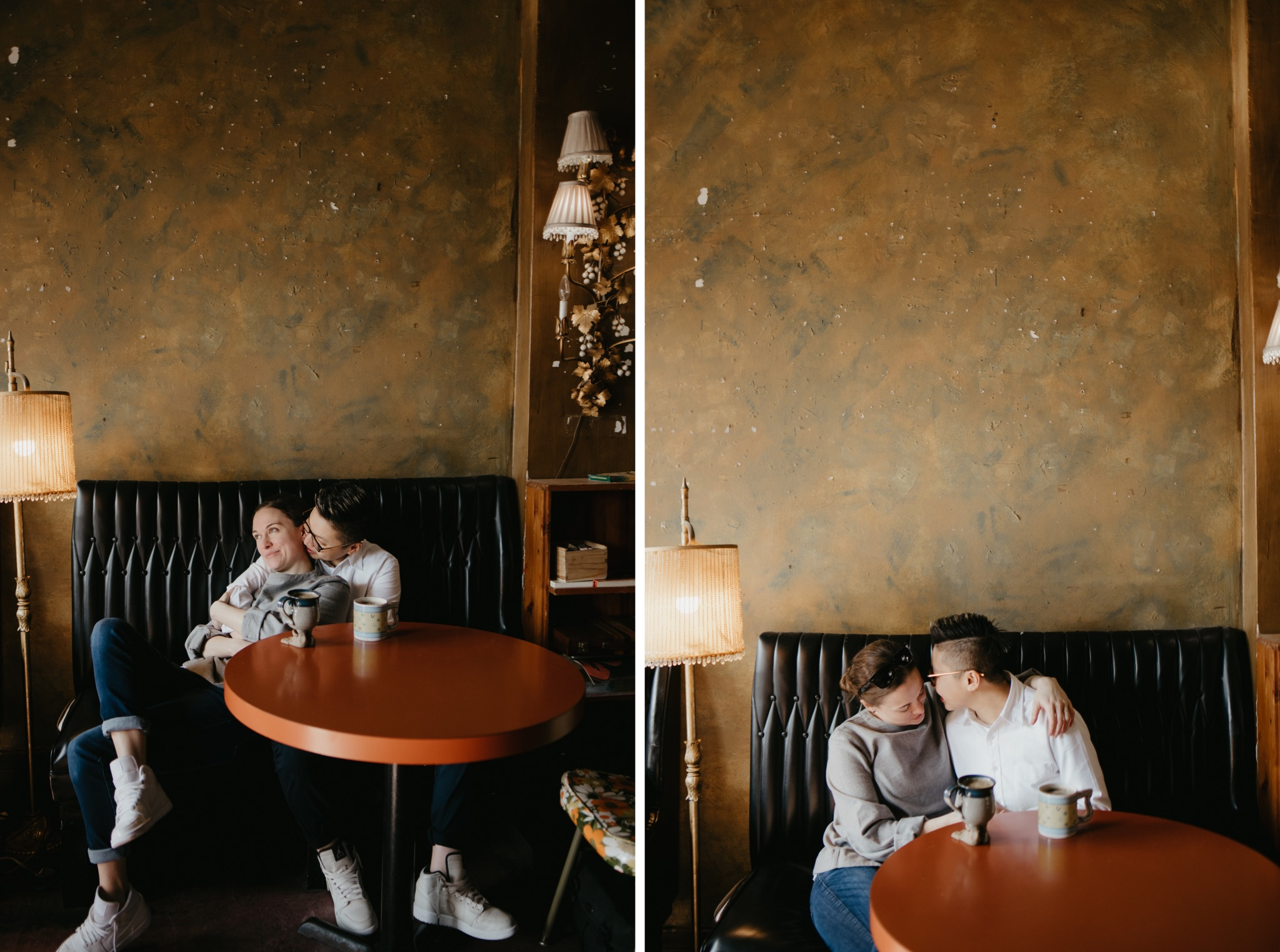 two die by side photos of bride and bride sitting at a table in a coffee shop