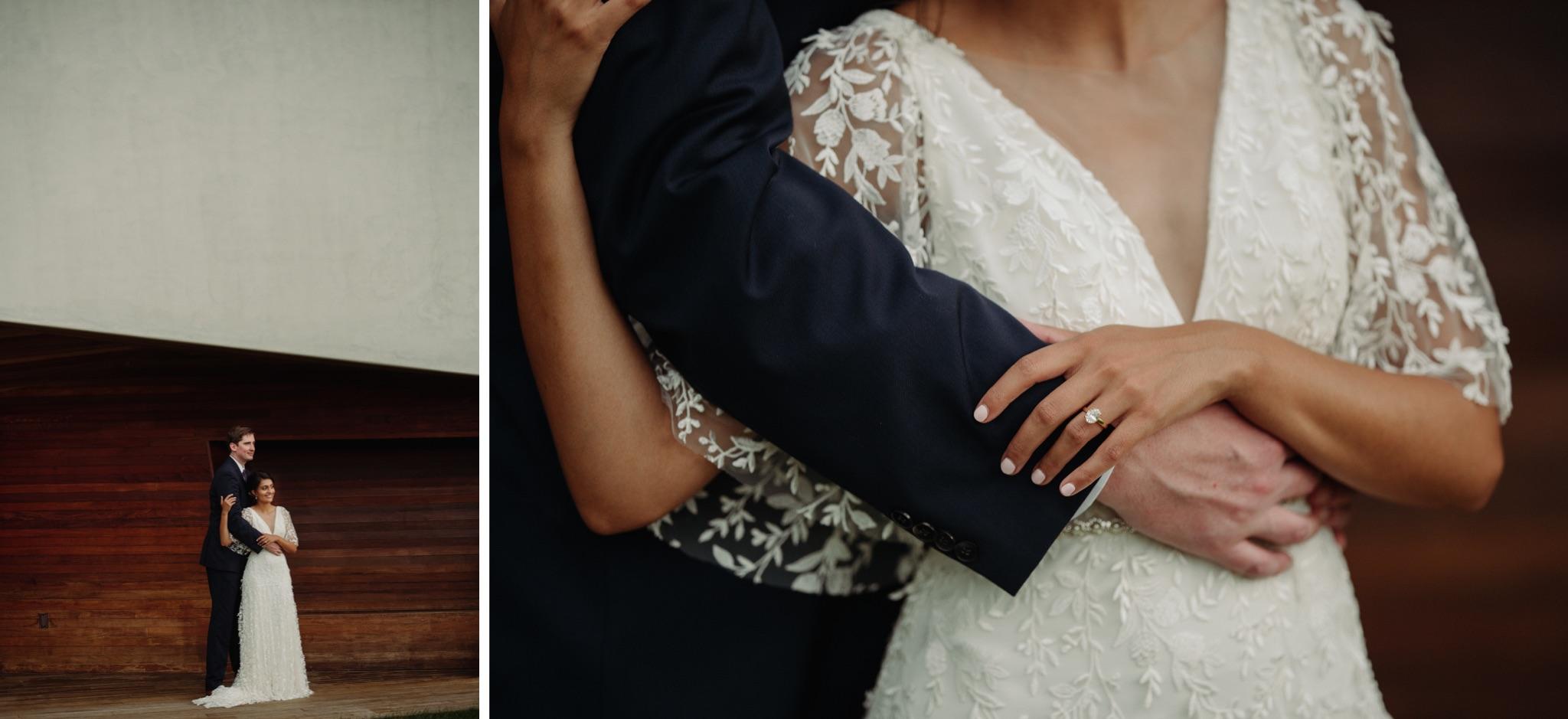 Bride holding groom's arm walker art center wedding