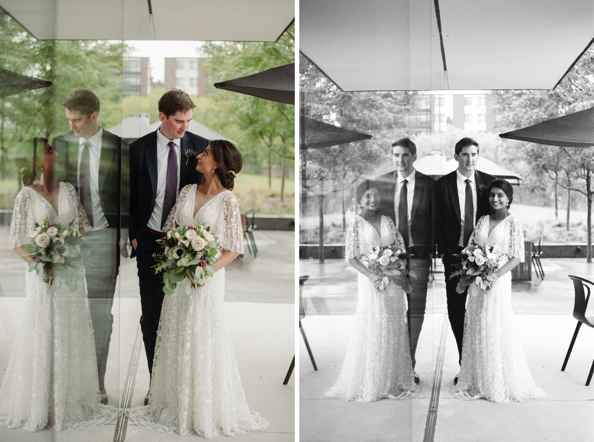 Bride and groom leaning against a window walker art center wedding