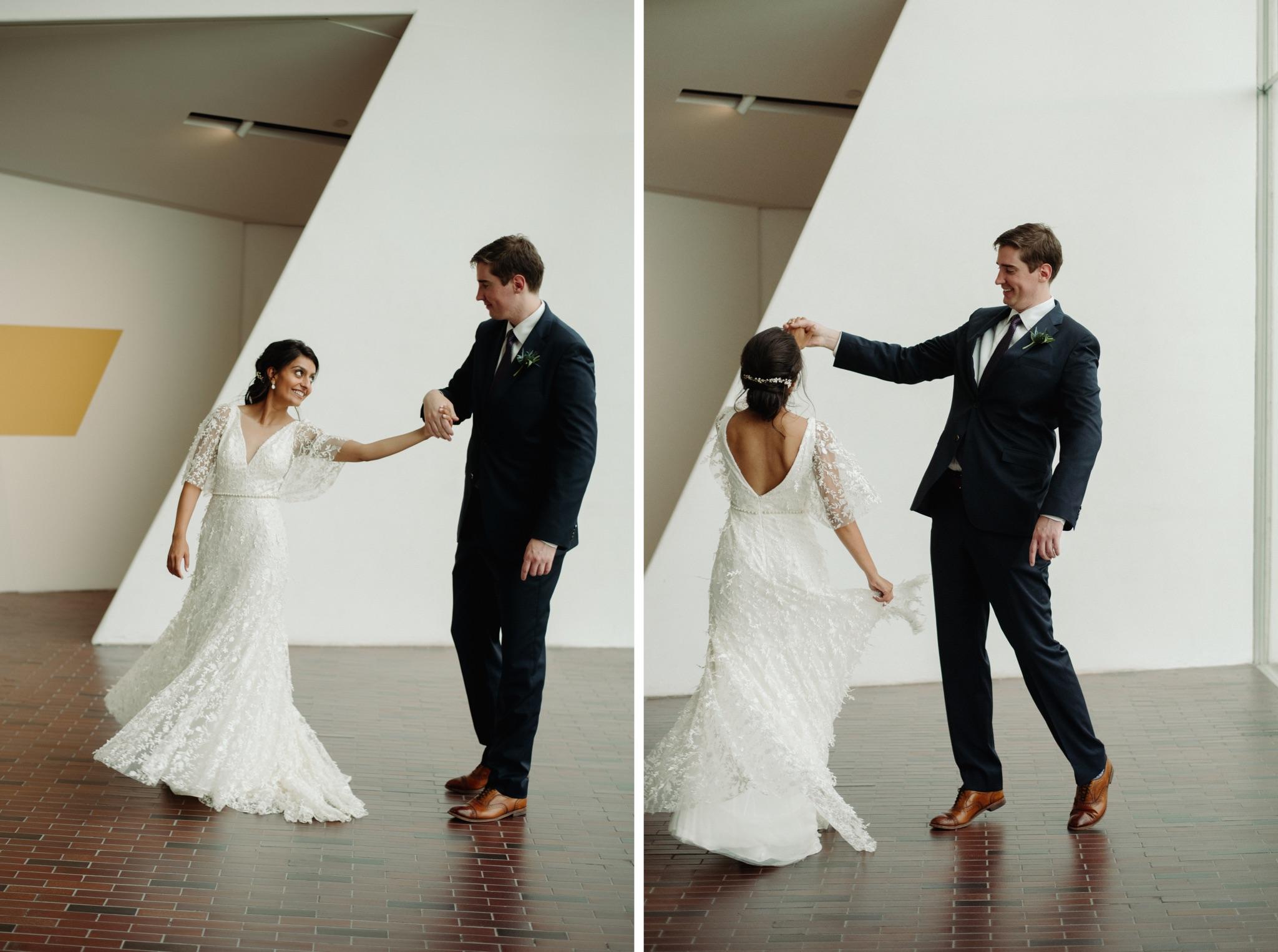 Groom spinning bride walker art center wedding