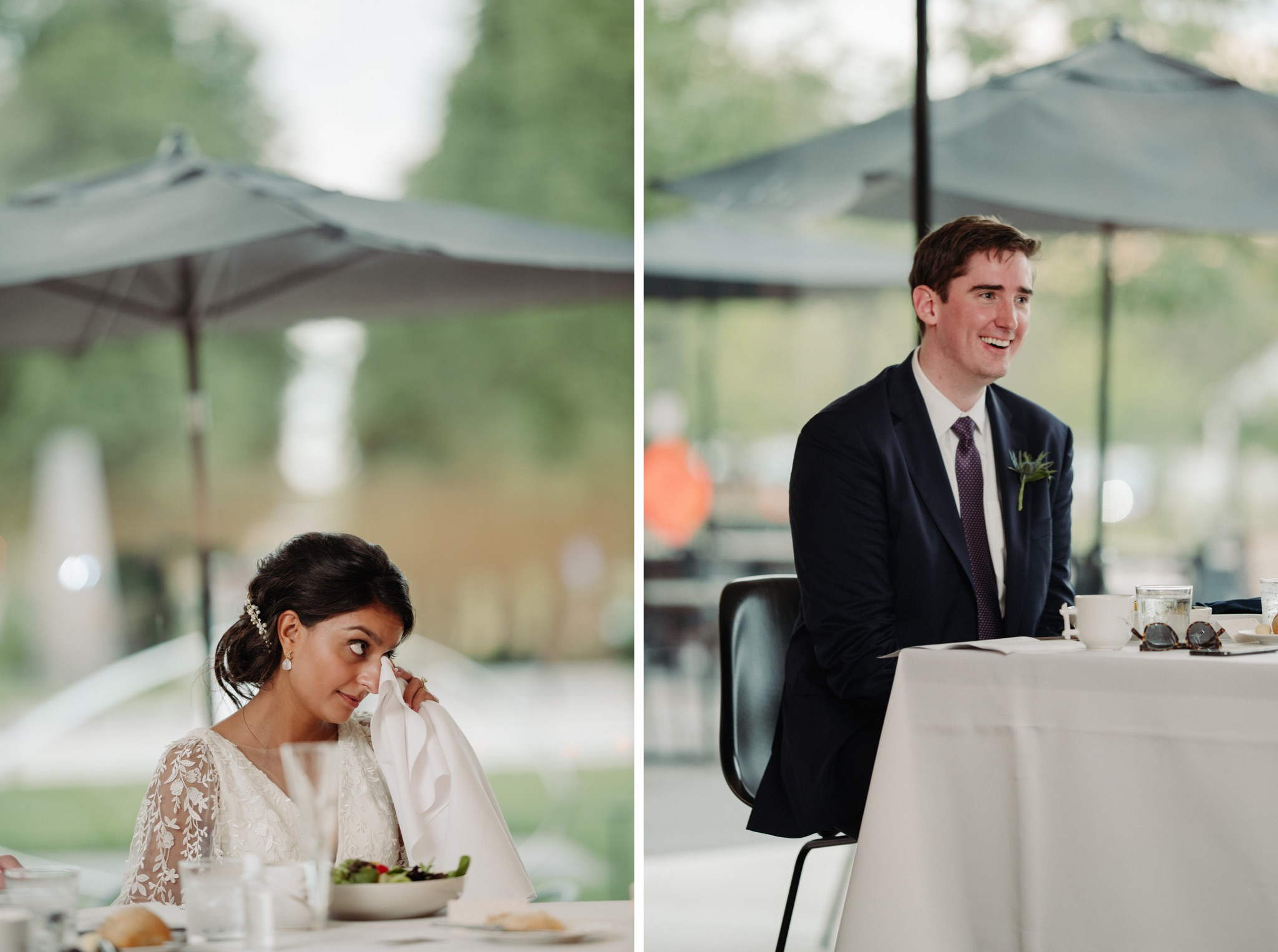bride and groom sitting at table, bride wiping a tear walker art center wedding
