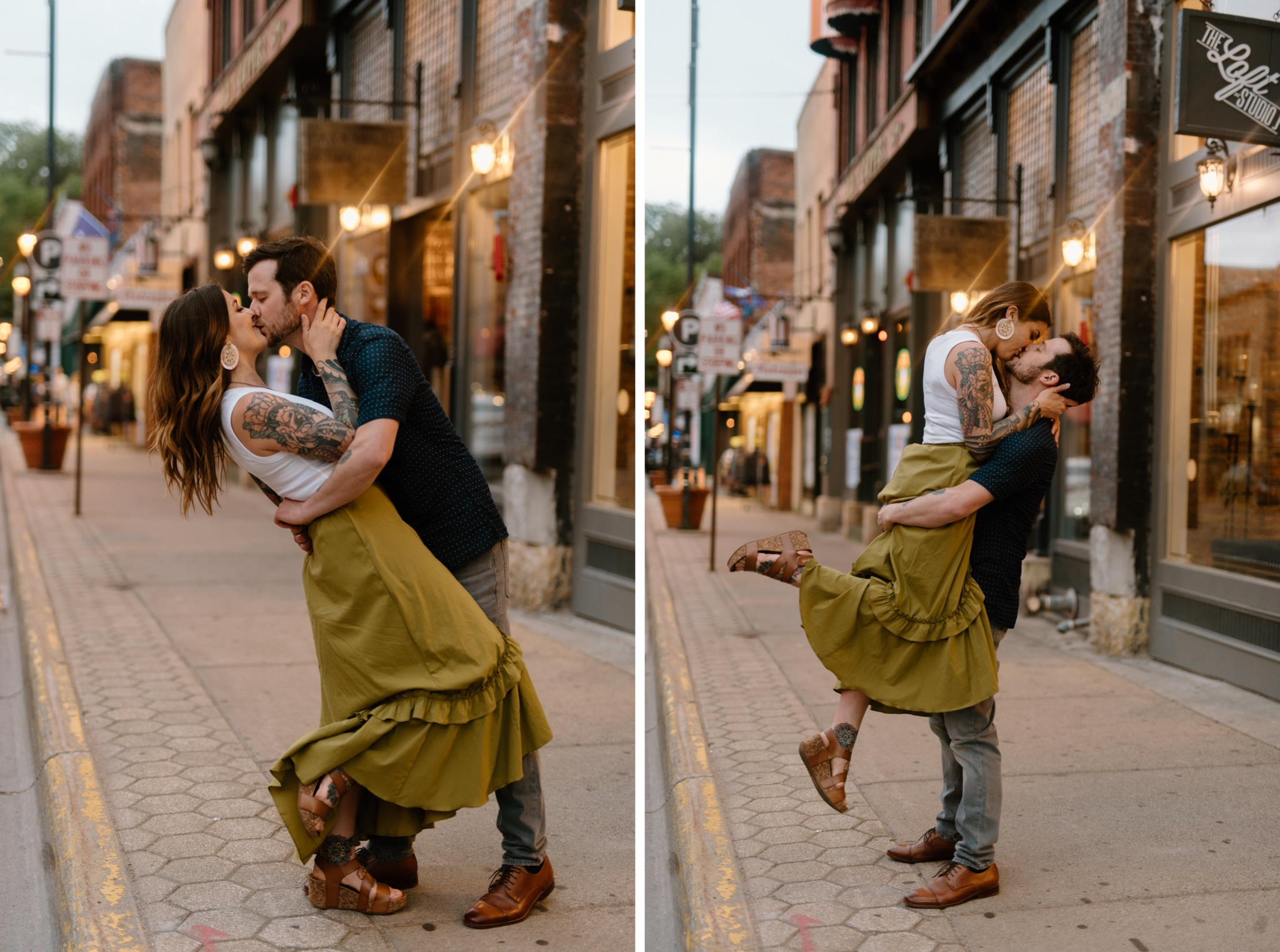 photo on left is man and woman embracing and kissing, photo on left is man lifting up woman and kissing
