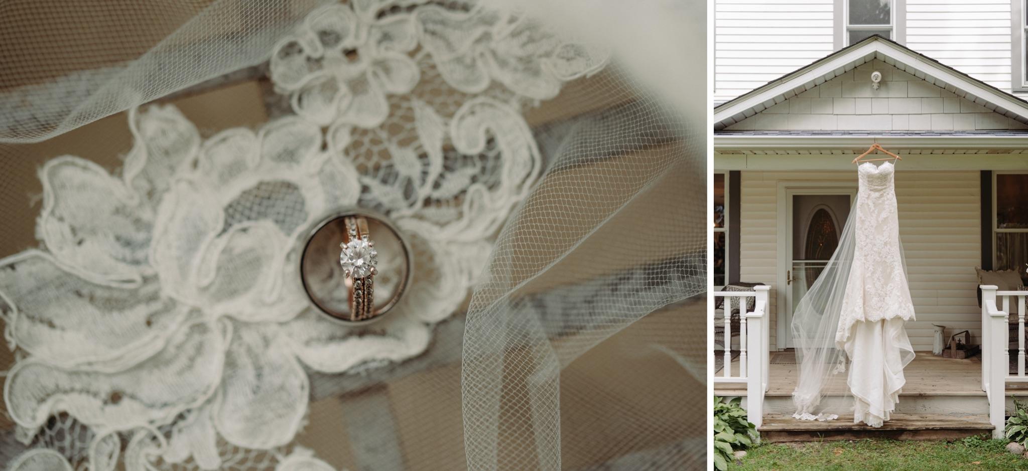 wedding dress hanging I'm front of house, wedding ring on lace