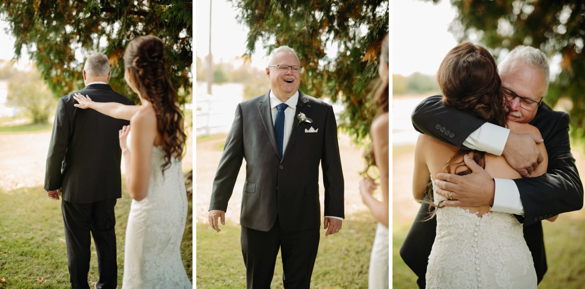 bride walking up to father and hugging