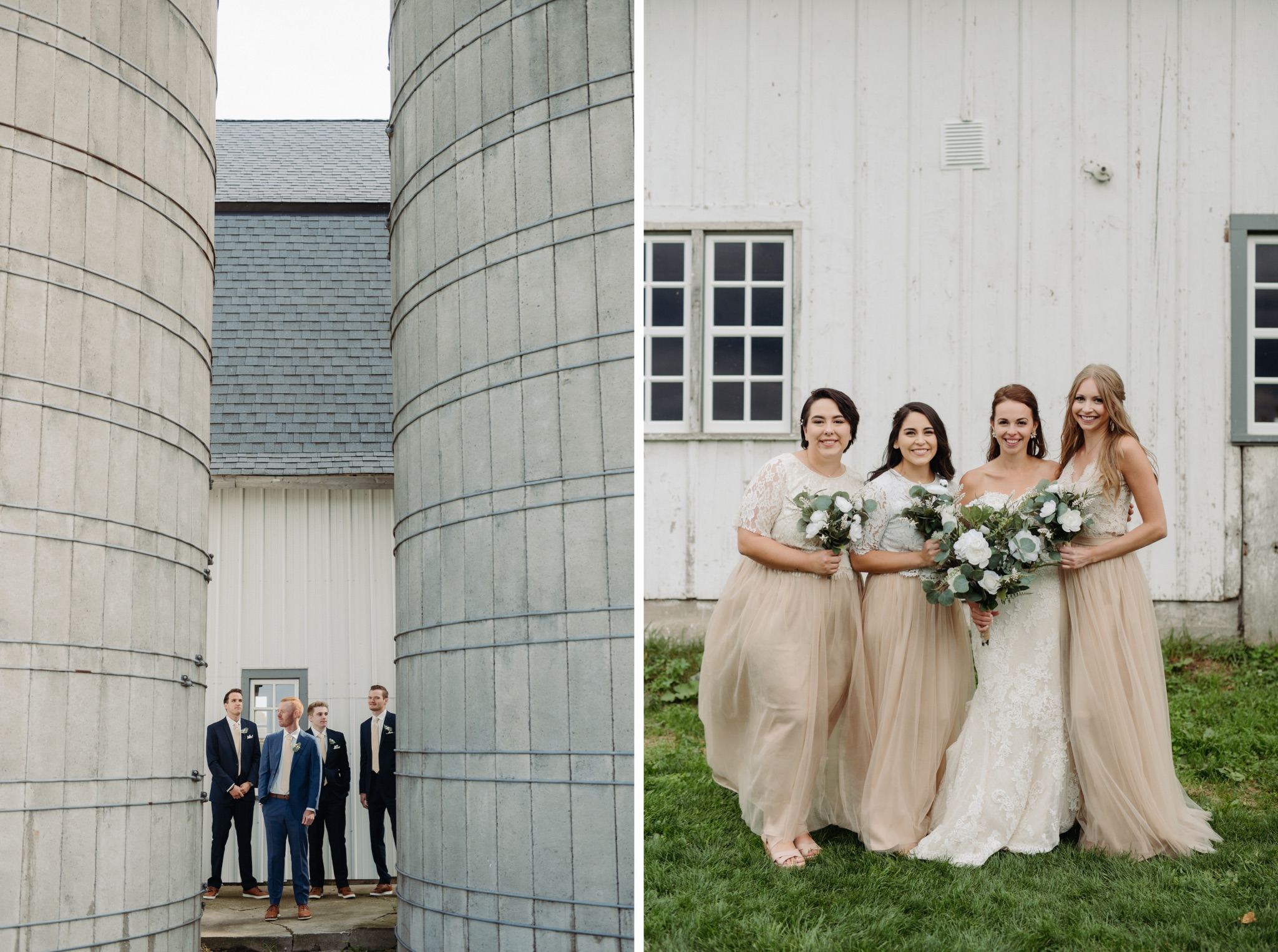 groom with grooms men and bride with bridesmaid