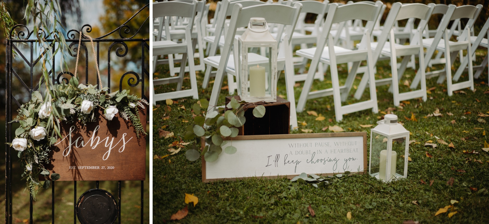 ceremony chairs and wooded sign with a quote on in