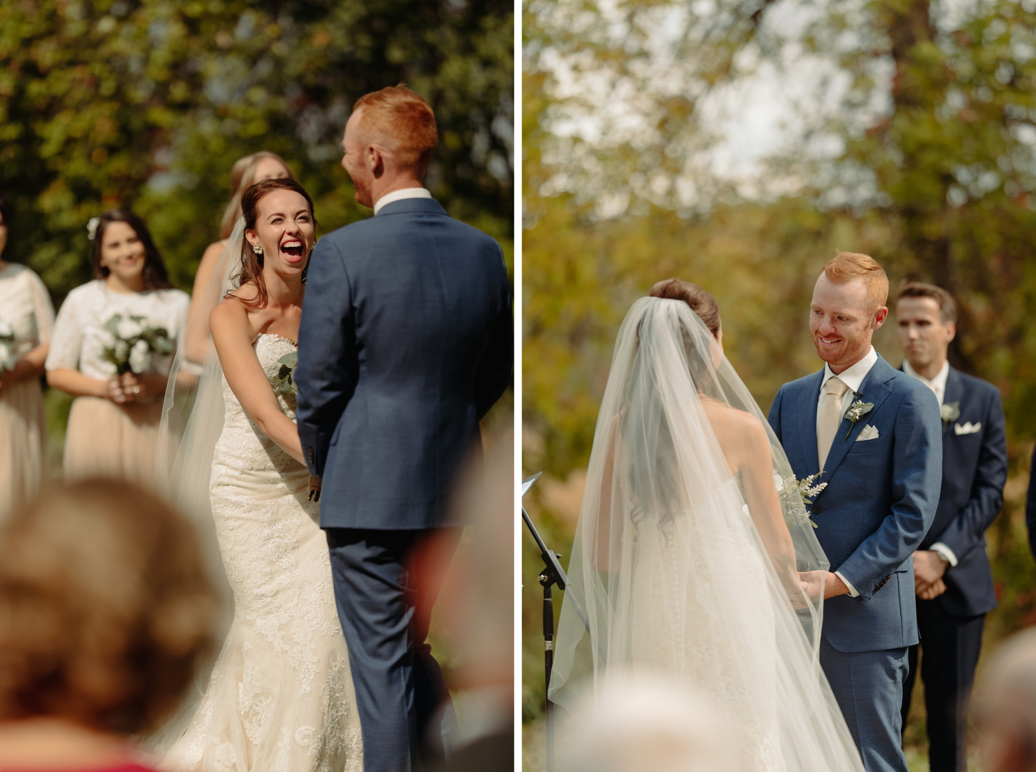 bride and groom standing at alter laughing