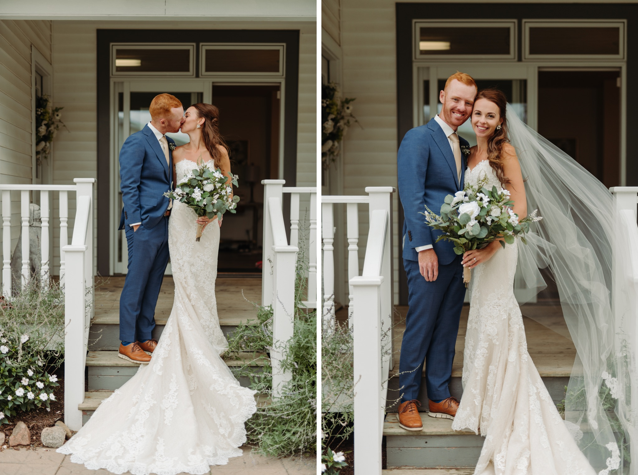 bride and groom standing on steps and kissing