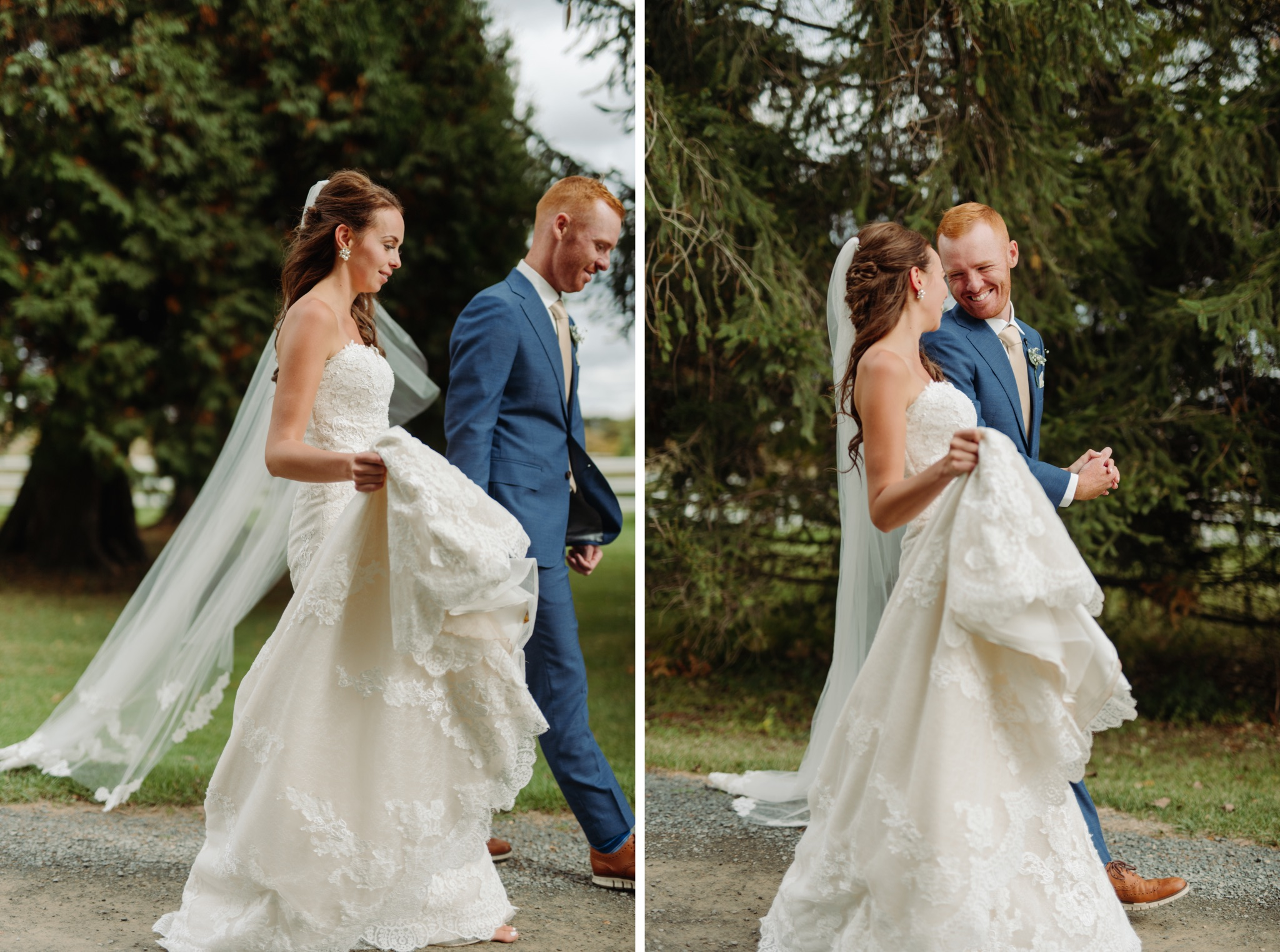bride holding dress up, holding hands, and walking with groom