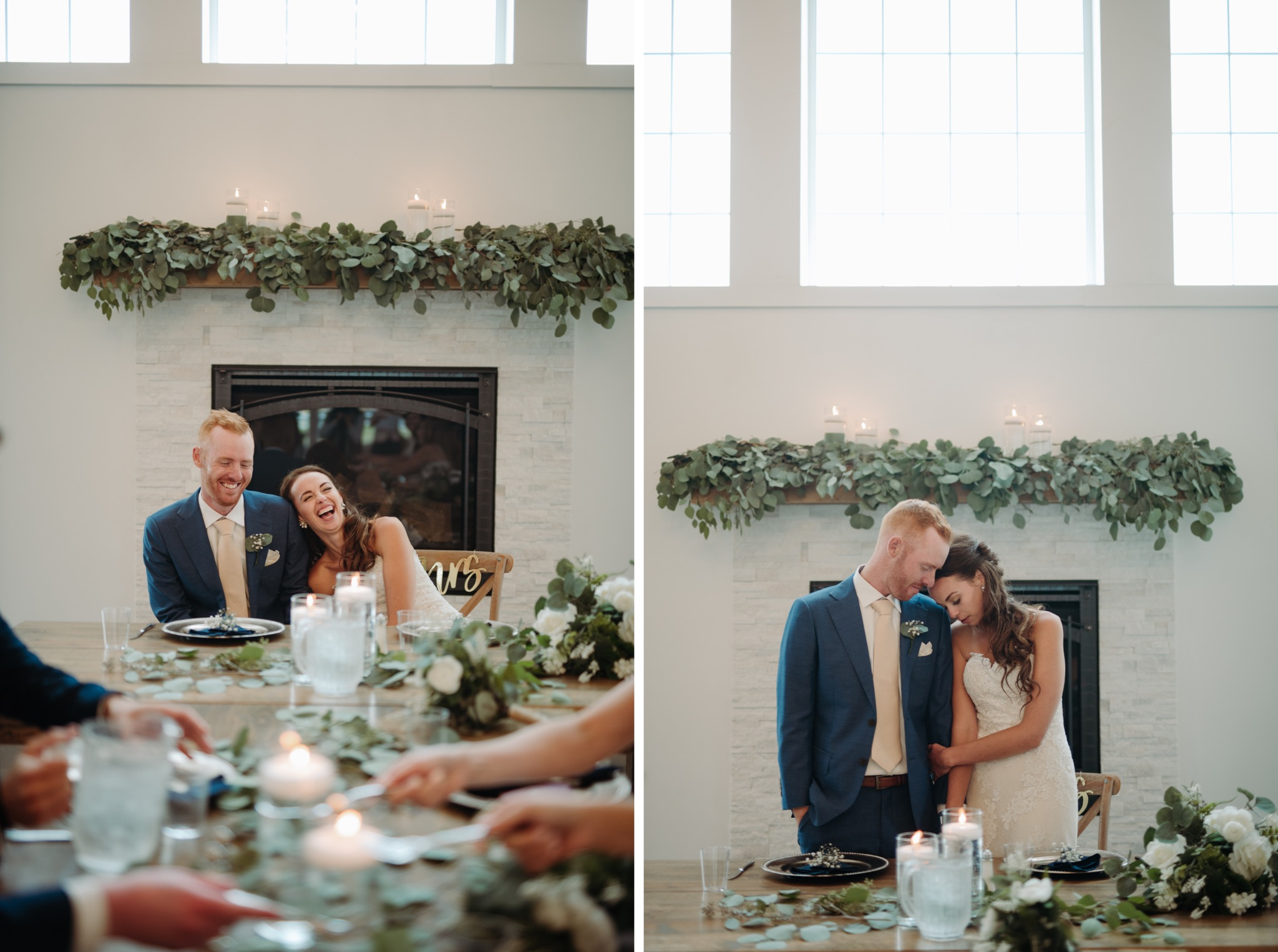 bride and groom hugging each other while at the head table