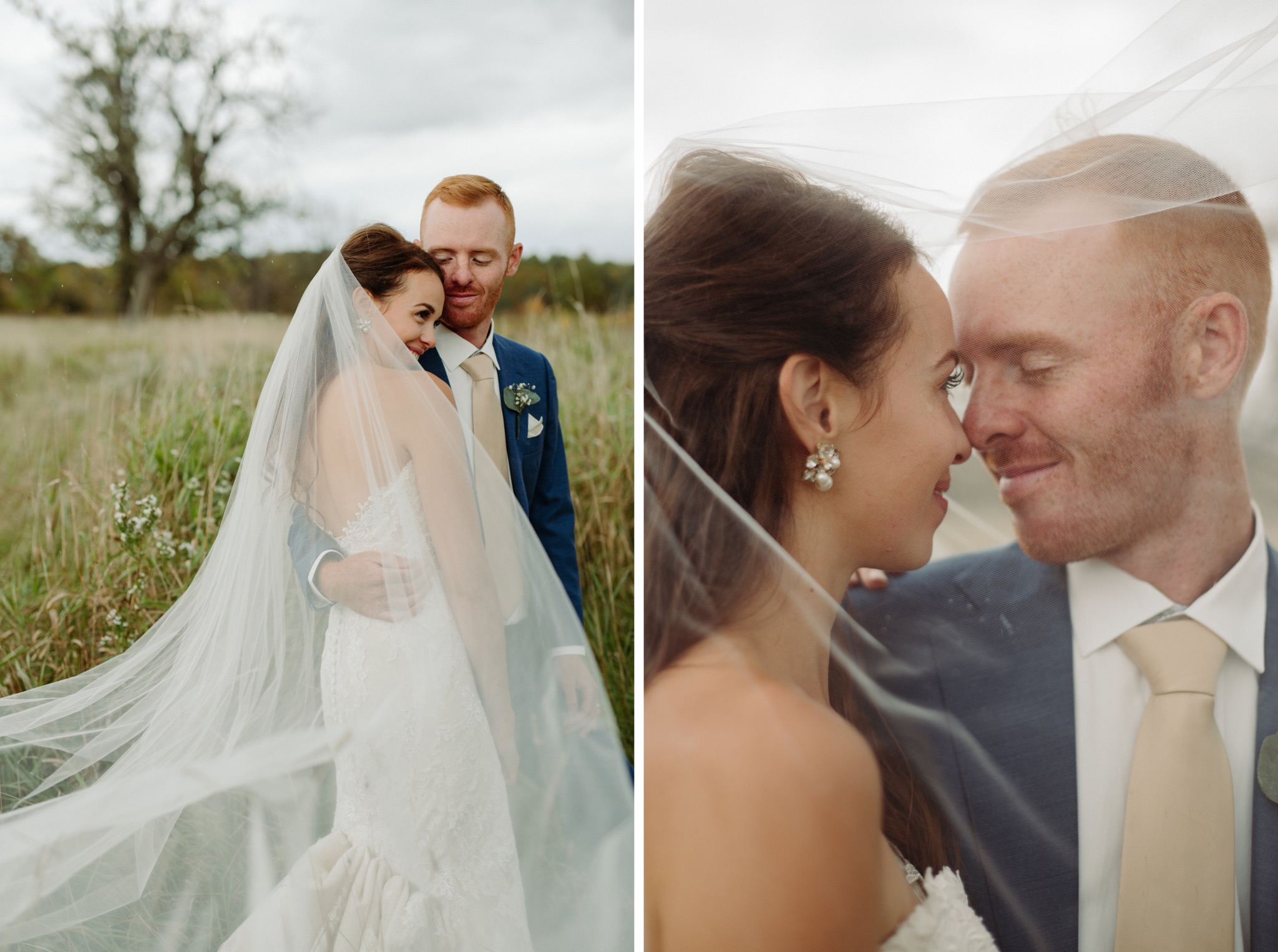 bride and groom hugging with bride's veil over them