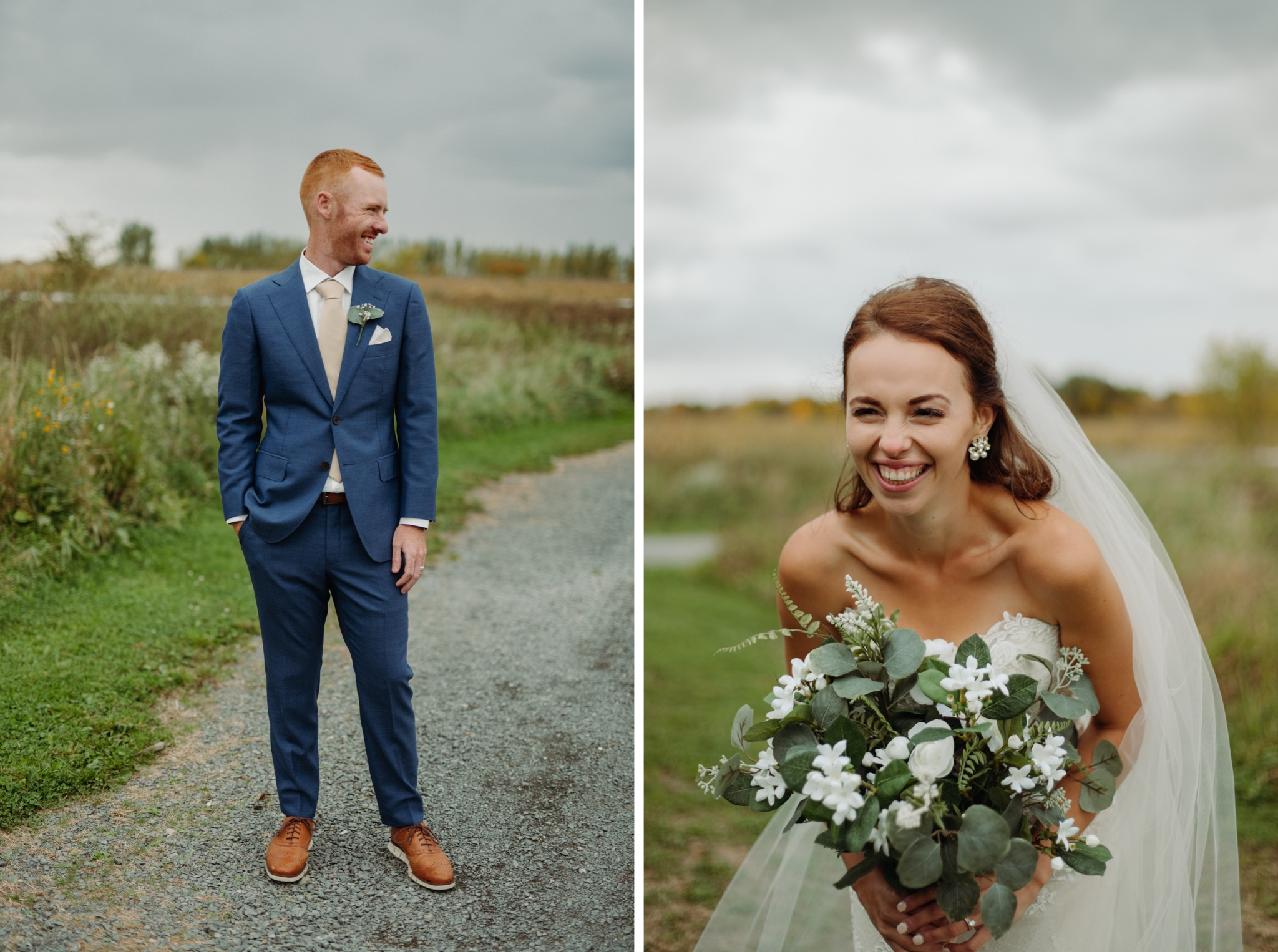 individual photos of bride standing and holding flowers and groom standing
